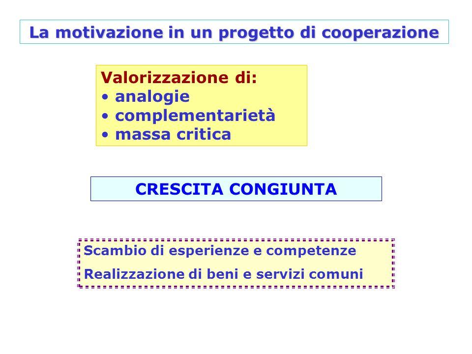 Valorizzazione di: analogie complementarietà massa critica CRESCITA CONGIUNTA La motivazione in un progetto di cooperazione Scambio di esperienze e co