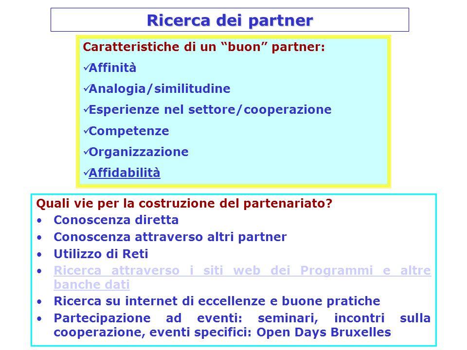 Ricerca dei partner Quali vie per la costruzione del partenariato? Conoscenza diretta Conoscenza attraverso altri partner Utilizzo di Reti Ricerca att