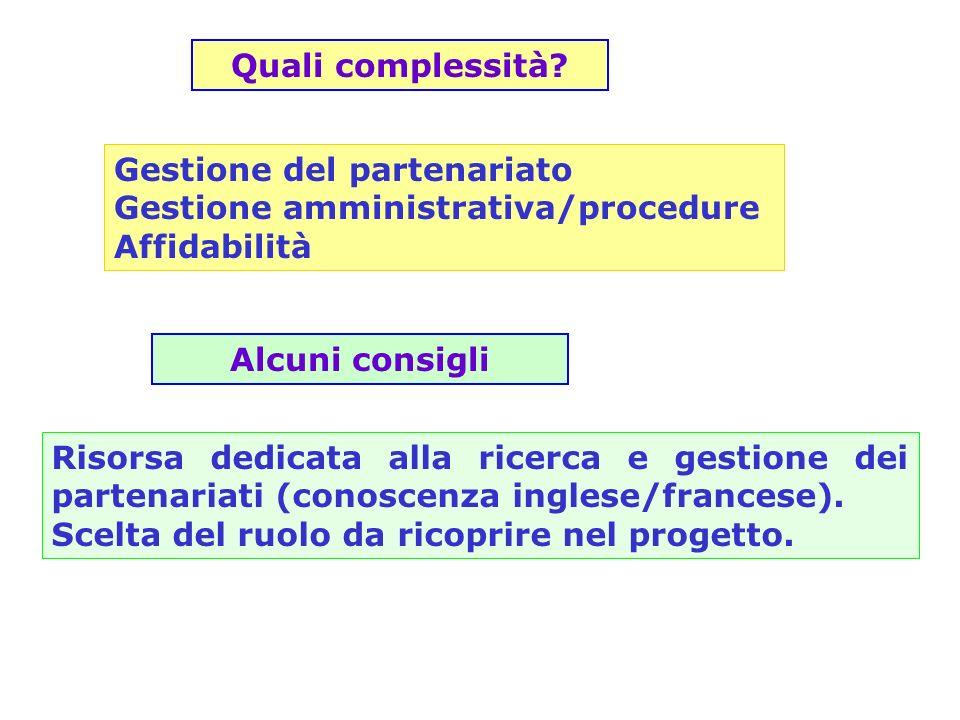 Gestione del partenariato Gestione amministrativa/procedure Affidabilità Quali complessità? Risorsa dedicata alla ricerca e gestione dei partenariati