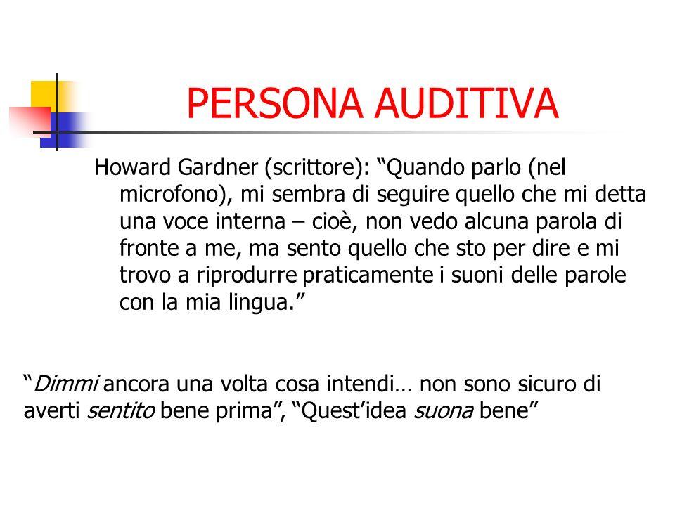 PERSONA AUDITIVA Howard Gardner (scrittore): Quando parlo (nel microfono), mi sembra di seguire quello che mi detta una voce interna – cioè, non vedo