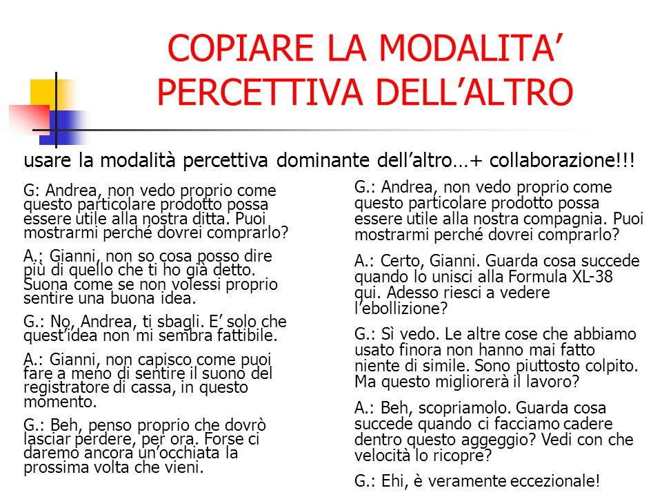 COPIARE LA MODALITA PERCETTIVA DELLALTRO usare la modalità percettiva dominante dellaltro…+ collaborazione!!! G: Andrea, non vedo proprio come questo