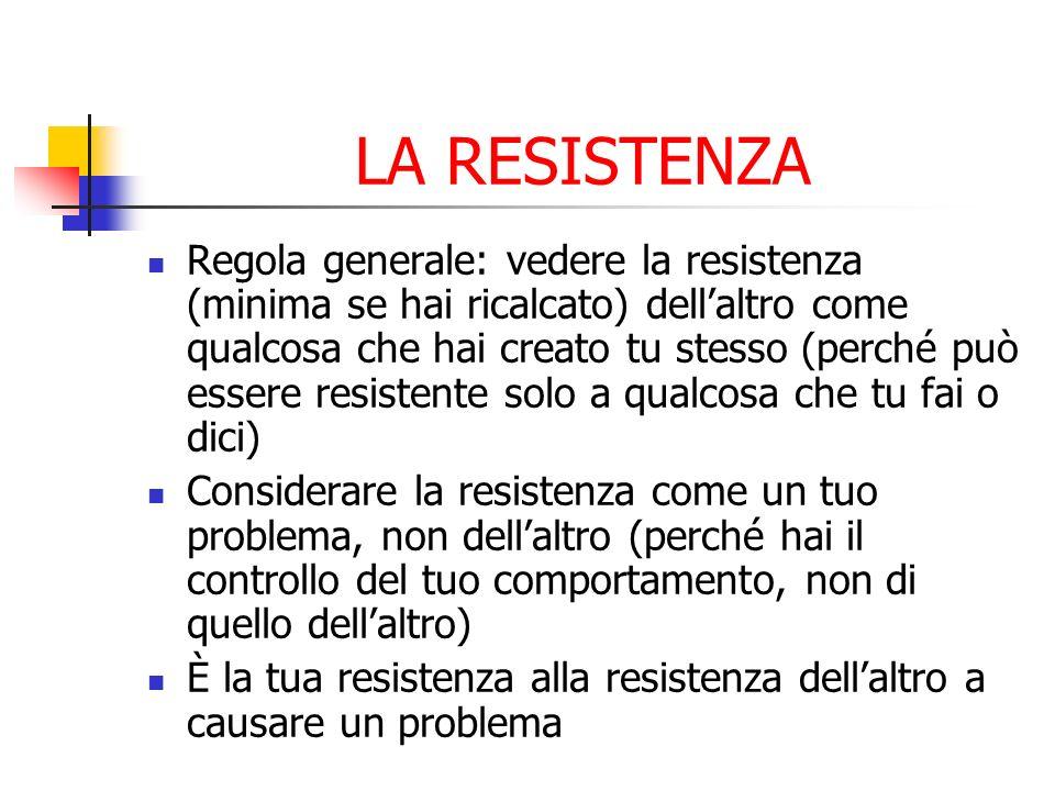 LA RESISTENZA Regola generale: vedere la resistenza (minima se hai ricalcato) dellaltro come qualcosa che hai creato tu stesso (perché può essere resi