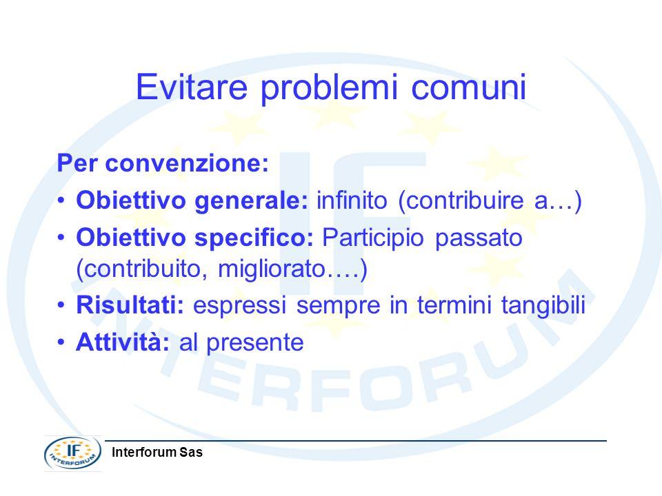 Interforum Sas Evitare problemi comuni Per convenzione: Obiettivo generale: infinito (contribuire a…) Obiettivo specifico: Participio passato (contrib