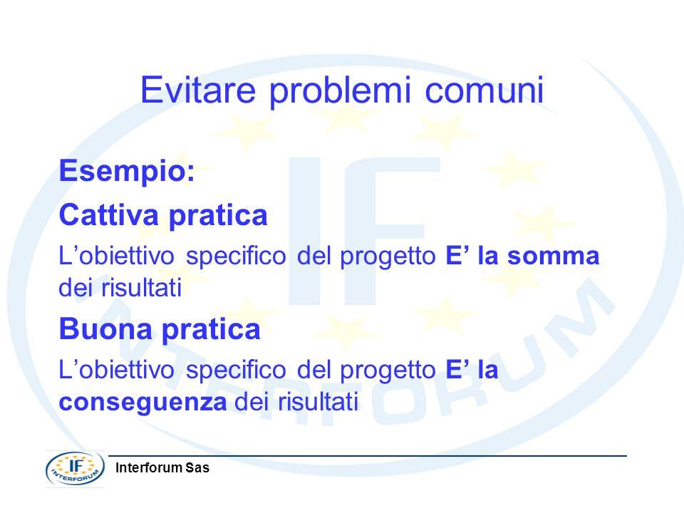 Interforum Sas Evitare problemi comuni Esempio: Cattiva pratica Lobiettivo specifico del progetto E la somma dei risultati Buona pratica Lobiettivo sp