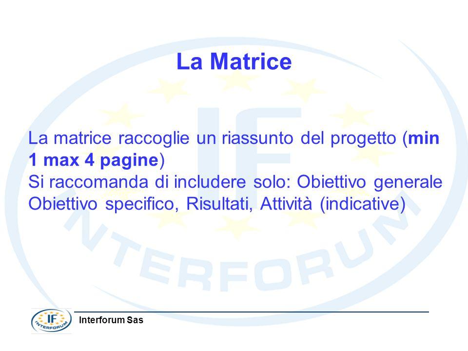 Interforum Sas La Matrice La matrice raccoglie un riassunto del progetto (min 1 max 4 pagine) Si raccomanda di includere solo: Obiettivo generale Obie