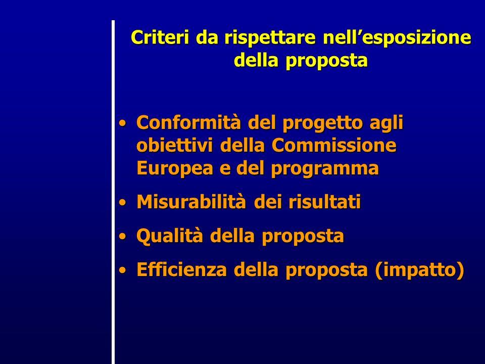 Criteri da rispettare nellesposizione della proposta Conformità del progetto agli obiettivi della Commissione Europea e del programmaConformità del progetto agli obiettivi della Commissione Europea e del programma Misurabilità dei risultatiMisurabilità dei risultati Qualità della propostaQualità della proposta Efficienza della proposta (impatto)Efficienza della proposta (impatto)