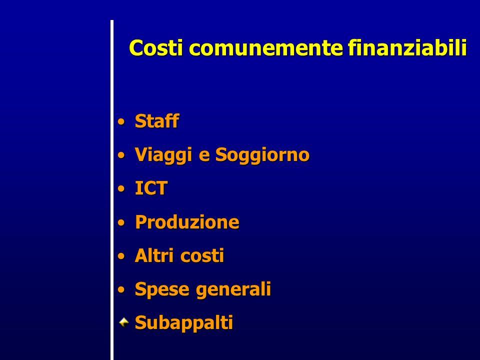 Costi comunemente finanziabili StaffStaff Viaggi e SoggiornoViaggi e Soggiorno ICTICT ProduzioneProduzione Altri costiAltri costi Spese generaliSpese generaliSubappalti
