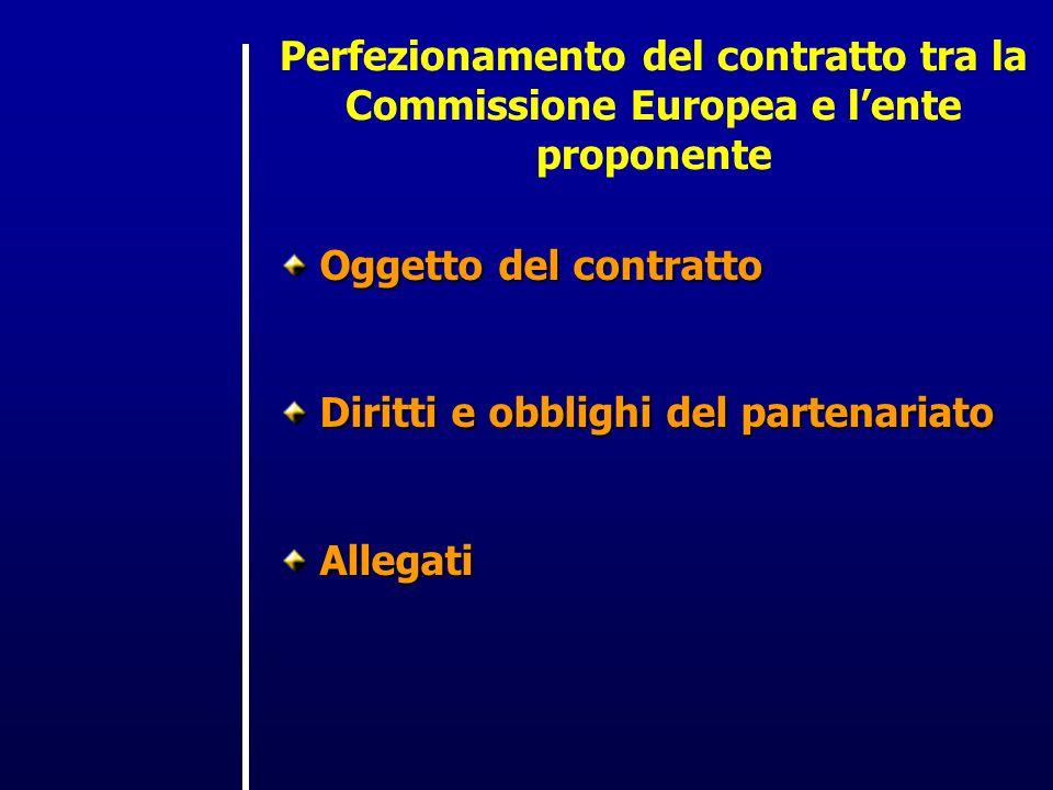 Perfezionamento del contratto tra la Commissione Europea e lente proponente Oggetto del contratto Diritti e obblighi del partenariato Allegati