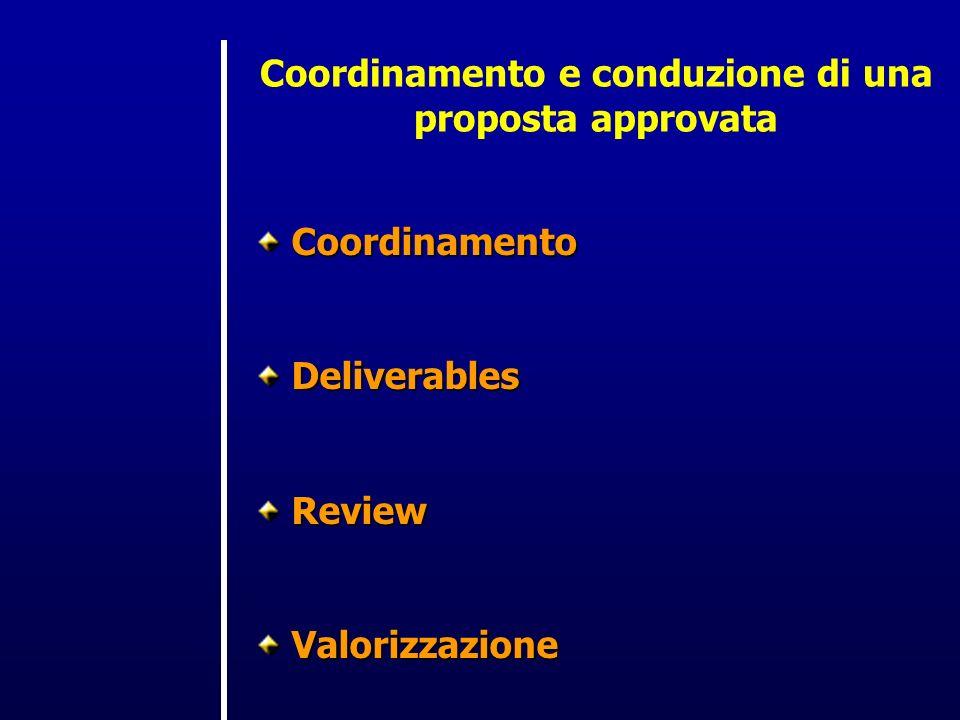 Coordinamento e conduzione di una proposta approvata CoordinamentoDeliverablesReviewValorizzazione