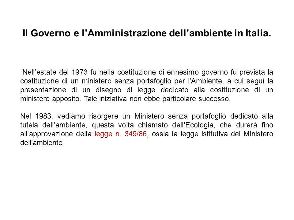 Il Governo e lAmministrazione dellambiente in Italia. Nellestate del 1973 fu nella costituzione di ennesimo governo fu prevista la costituzione di un
