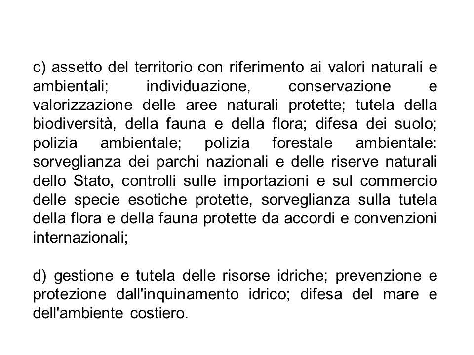 c) assetto del territorio con riferimento ai valori naturali e ambientali; individuazione, conservazione e valorizzazione delle aree naturali protette