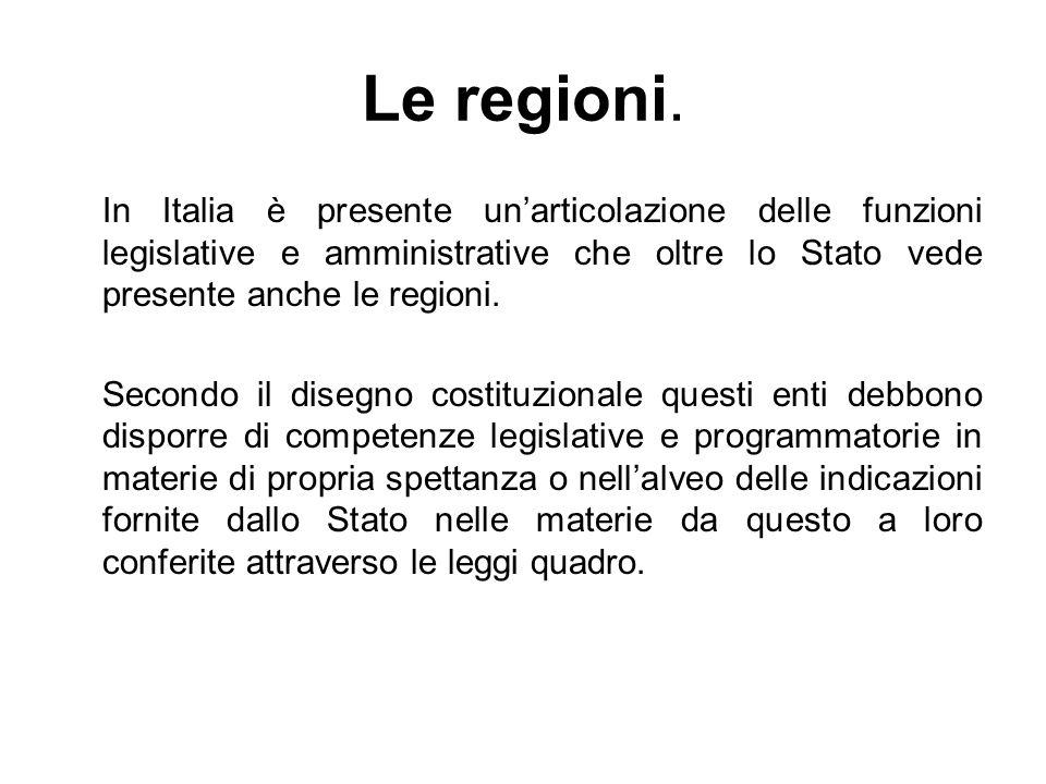 Le regioni. In Italia è presente unarticolazione delle funzioni legislative e amministrative che oltre lo Stato vede presente anche le regioni. Second