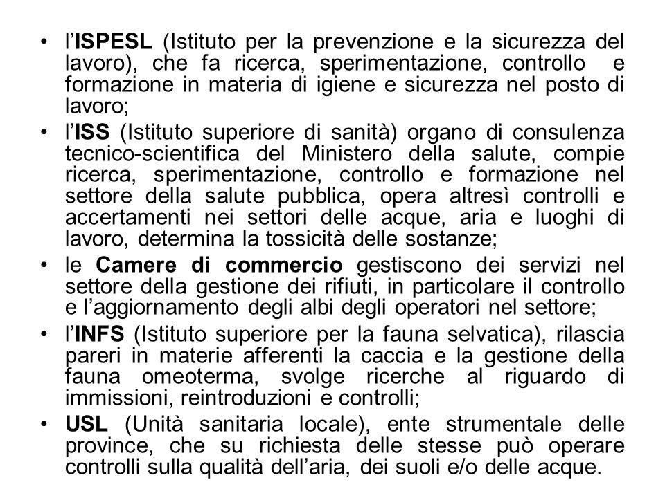 lISPESL (Istituto per la prevenzione e la sicurezza del lavoro), che fa ricerca, sperimentazione, controllo e formazione in materia di igiene e sicure
