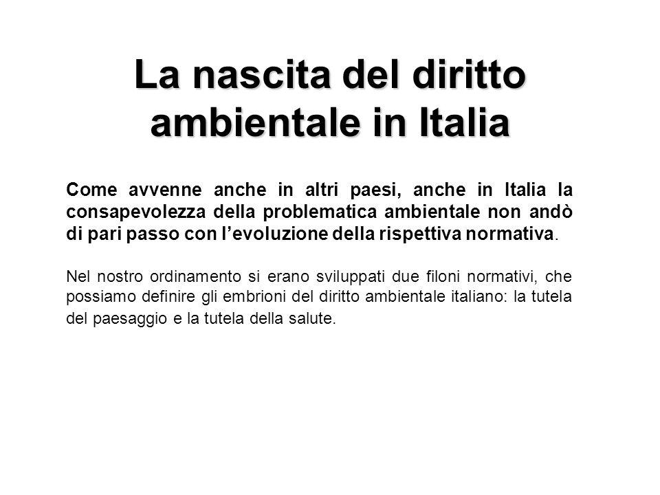 La nascita del diritto ambientale in Italia Come avvenne anche in altri paesi, anche in Italia la consapevolezza della problematica ambientale non and