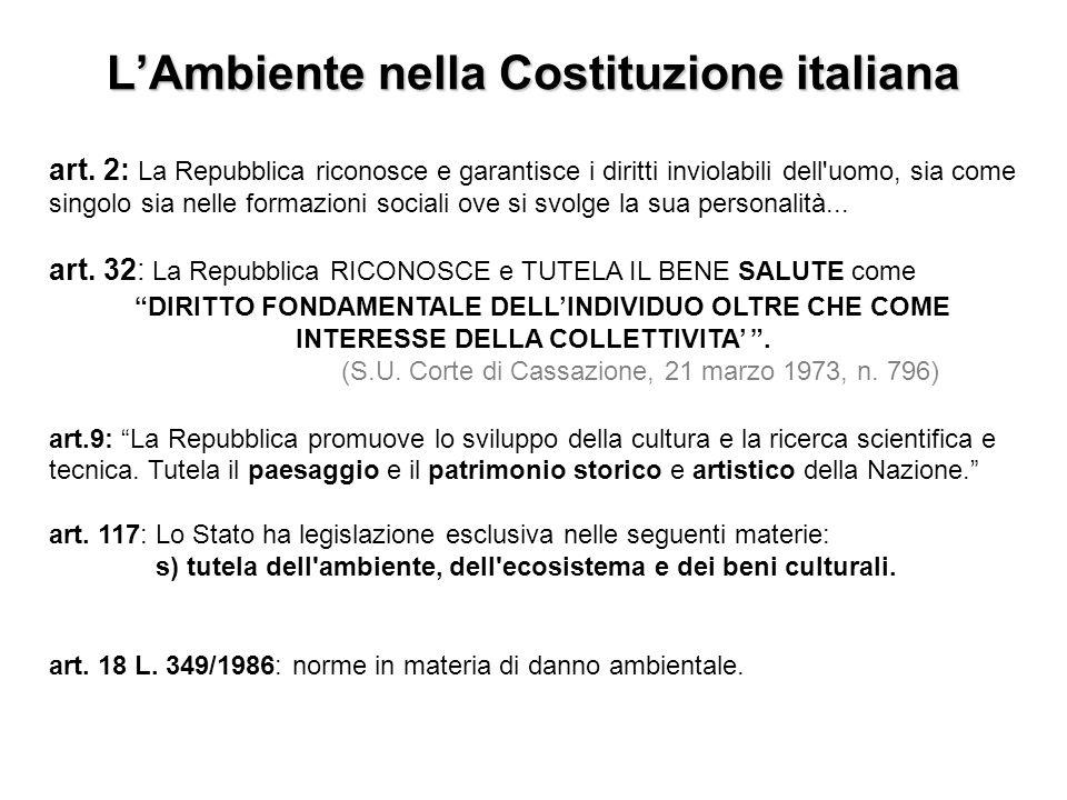 LAmbiente nella Costituzione italiana art. 2: La Repubblica riconosce e garantisce i diritti inviolabili dell'uomo, sia come singolo sia nelle formazi
