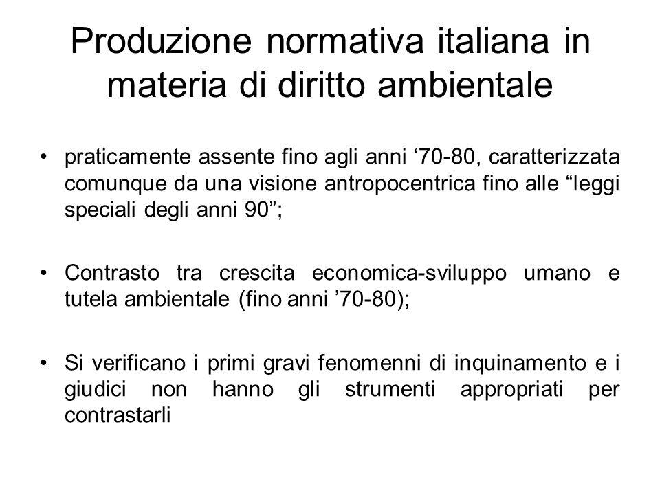 Produzione normativa italiana in materia di diritto ambientale praticamente assente fino agli anni 70-80, caratterizzata comunque da una visione antro