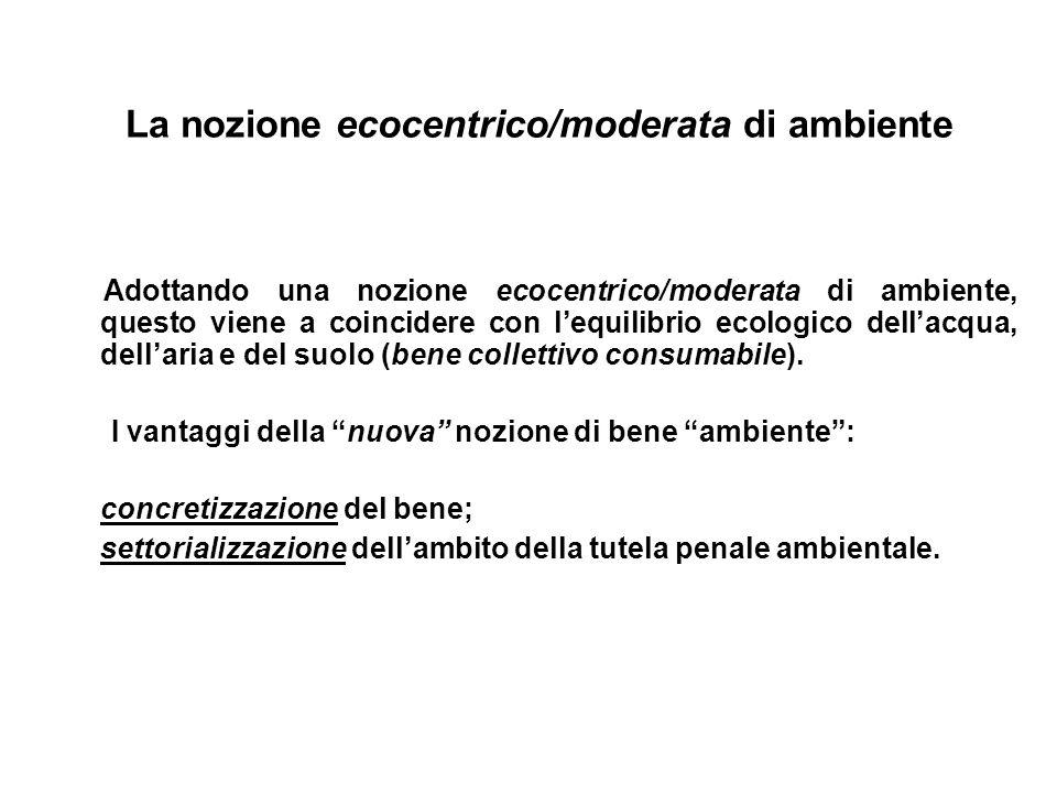 La nozione ecocentrico/moderata di ambiente Adottando una nozione ecocentrico/moderata di ambiente, questo viene a coincidere con lequilibrio ecologic