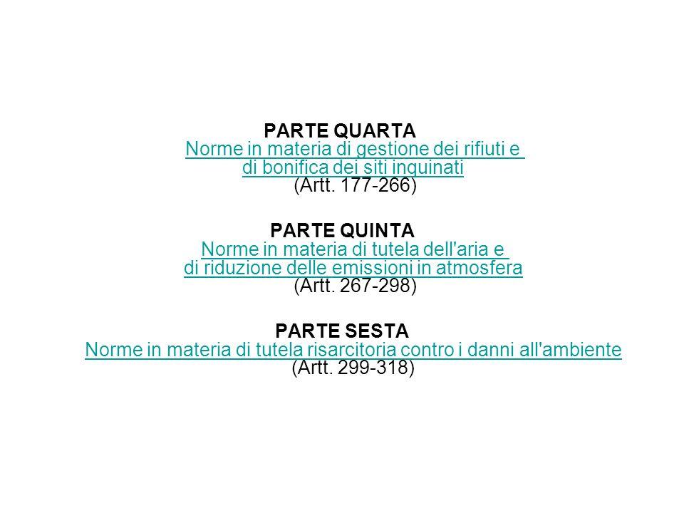 PARTE QUARTA Norme in materia di gestione dei rifiuti e di bonifica dei siti inquinati (Artt. 177-266) Norme in materia di gestione dei rifiuti e di b