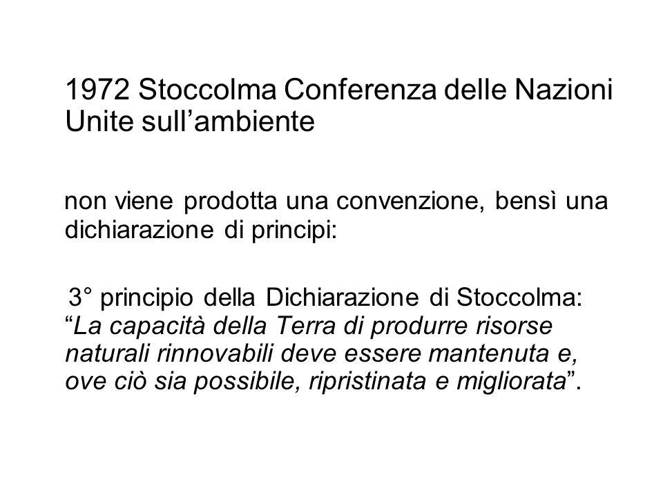 1972 Stoccolma Conferenza delle Nazioni Unite sullambiente non viene prodotta una convenzione, bensì una dichiarazione di principi: 3° principio della