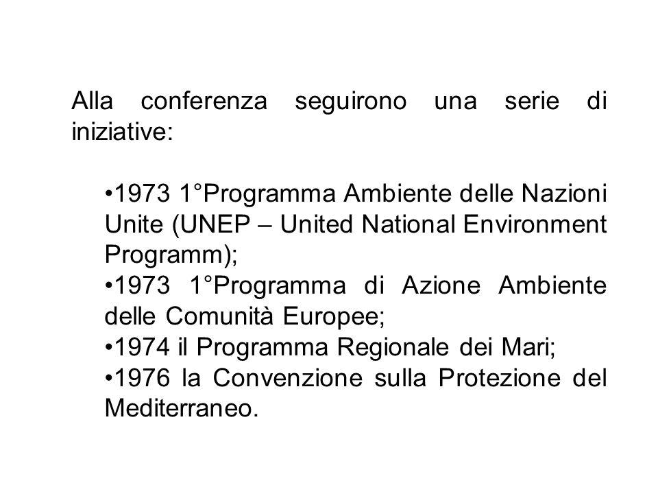Alla conferenza seguirono una serie di iniziative: 1973 1°Programma Ambiente delle Nazioni Unite (UNEP – United National Environment Programm); 1973 1
