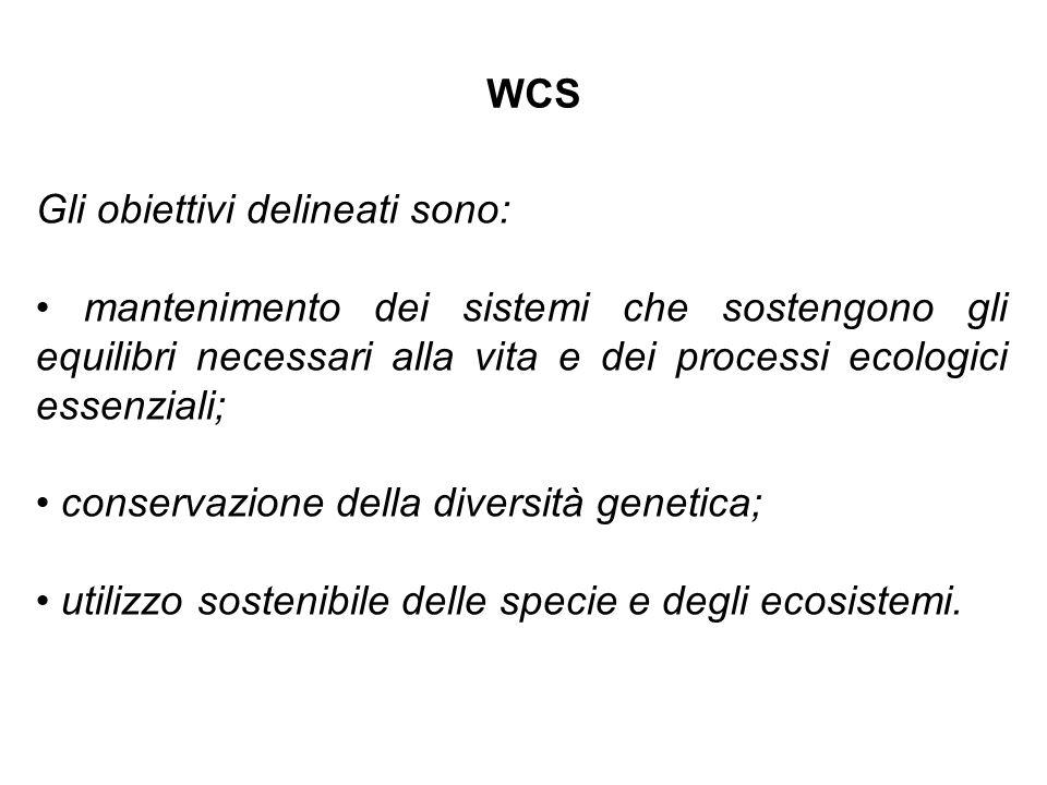 Gli obiettivi delineati sono: mantenimento dei sistemi che sostengono gli equilibri necessari alla vita e dei processi ecologici essenziali; conservaz