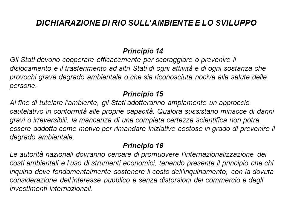 Principio 14 Gli Stati devono cooperare efficacemente per scoraggiare o prevenire il dislocamento e il trasferimento ad altri Stati di ogni attività e