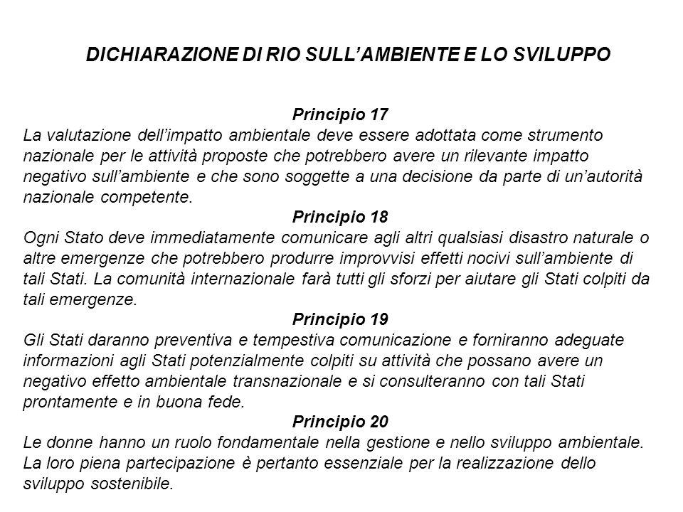 Principio 17 La valutazione dellimpatto ambientale deve essere adottata come strumento nazionale per le attività proposte che potrebbero avere un rile