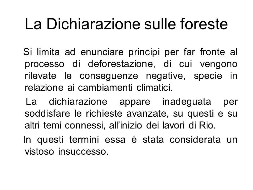 La Dichiarazione sulle foreste Si limita ad enunciare principi per far fronte al processo di deforestazione, di cui vengono rilevate le conseguenze ne
