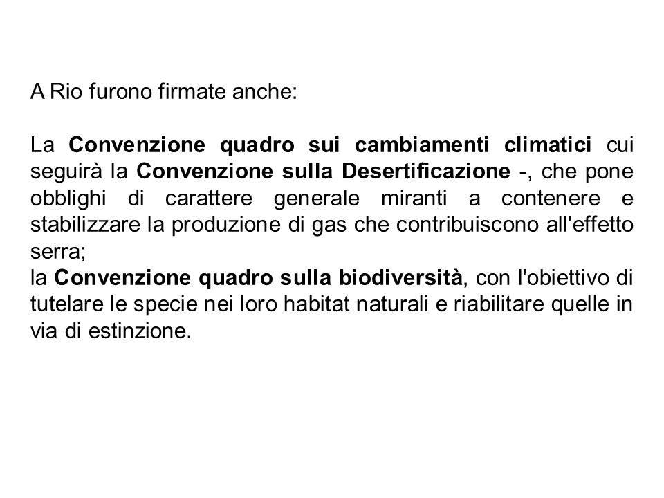 A Rio furono firmate anche: La Convenzione quadro sui cambiamenti climatici cui seguirà la Convenzione sulla Desertificazione -, che pone obblighi di