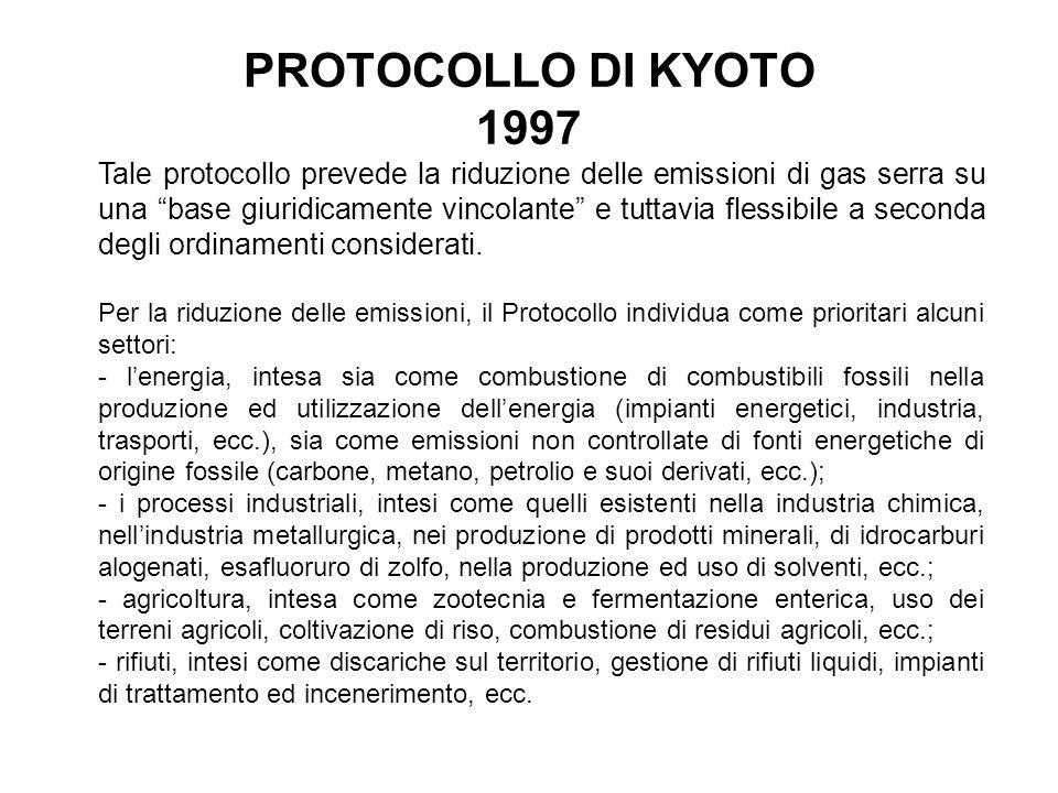 PROTOCOLLO DI KYOTO 1997 Tale protocollo prevede la riduzione delle emissioni di gas serra su una base giuridicamente vincolante e tuttavia flessibile