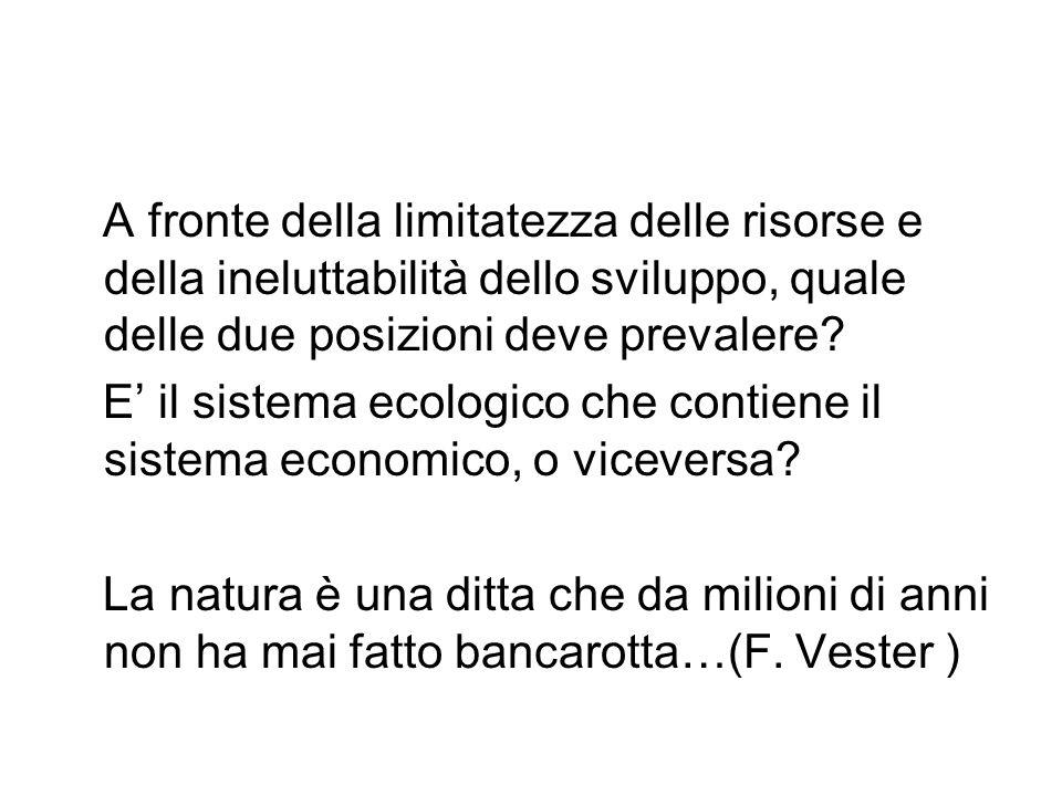 Il problema ambientale, dunque, non è solo un problema economico, ma rappresenta un problema sociale, che investe anche altri valori: quale leguaglianza, il diritto alla vita dignitosa, la responsabilità, la democrazia.