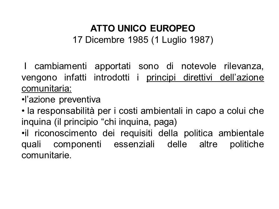 ATTO UNICO EUROPEO 17 Dicembre 1985 (1 Luglio 1987) I cambiamenti apportati sono di notevole rilevanza, vengono infatti introdotti i principi direttiv