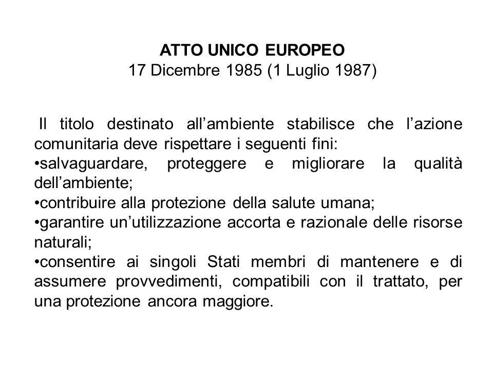 ATTO UNICO EUROPEO 17 Dicembre 1985 (1 Luglio 1987) Il titolo destinato allambiente stabilisce che lazione comunitaria deve rispettare i seguenti fini