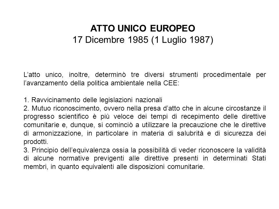 ATTO UNICO EUROPEO 17 Dicembre 1985 (1 Luglio 1987) Latto unico, inoltre, determinò tre diversi strumenti procedimentale per lavanzamento della politi