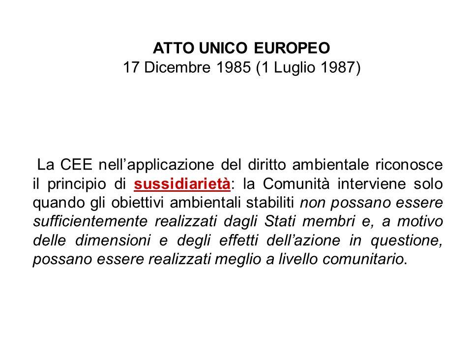 ATTO UNICO EUROPEO 17 Dicembre 1985 (1 Luglio 1987) La CEE nellapplicazione del diritto ambientale riconosce il principio di sussidiarietà: la Comunit