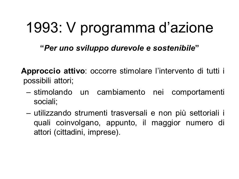 1993: V programma dazione Per uno sviluppo durevole e sostenibile Approccio attivo: occorre stimolare lintervento di tutti i possibili attori; –stimol