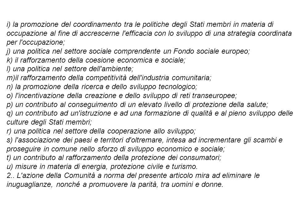 i) la promozione del coordinamento tra le politiche degli Stati membri in materia di occupazione al fine di accrescerne l'efficacia con lo sviluppo di