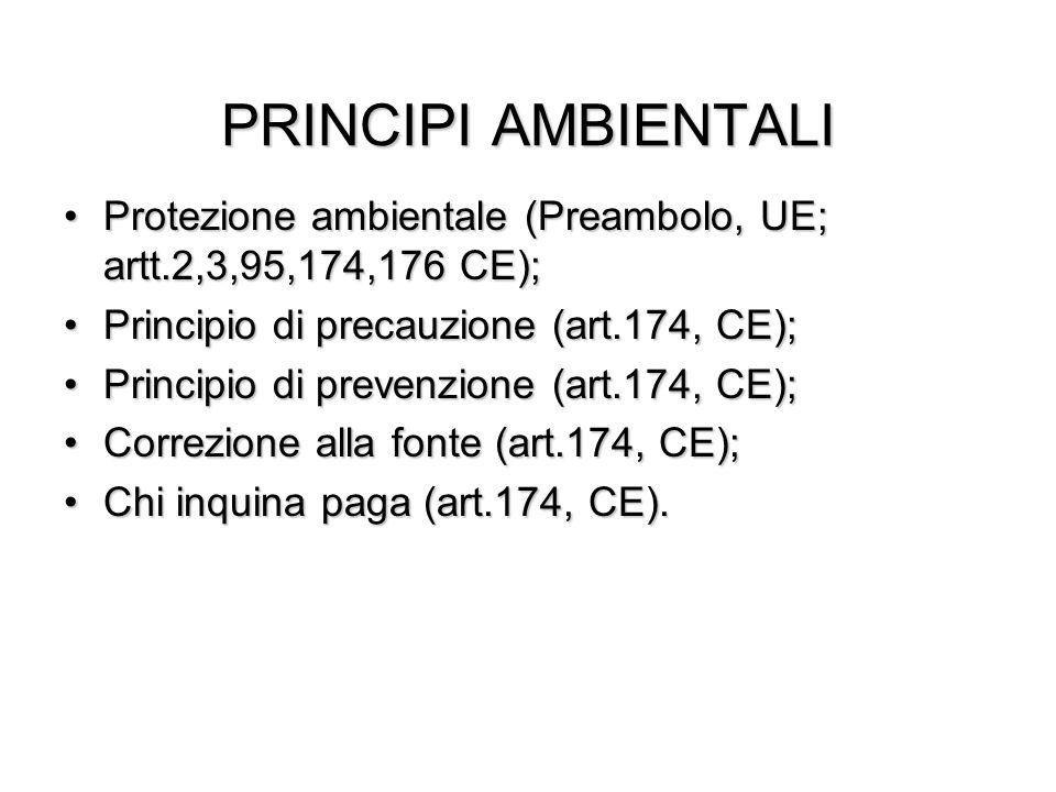 PRINCIPI AMBIENTALI Protezione ambientale (Preambolo, UE; artt.2,3,95,174,176 CE);Protezione ambientale (Preambolo, UE; artt.2,3,95,174,176 CE); Princ