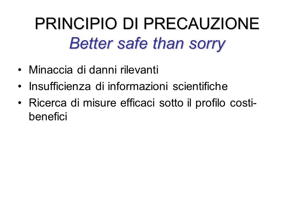 PRINCIPIO DI PRECAUZIONE Better safe than sorry Minaccia di danni rilevanti Insufficienza di informazioni scientifiche Ricerca di misure efficaci sott