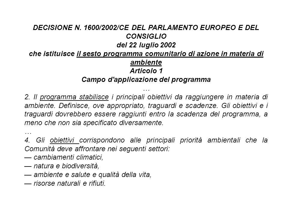 DECISIONE N. 1600/2002/CE DEL PARLAMENTO EUROPEO E DEL CONSIGLIO del 22 luglio 2002 che istituisce il sesto programma comunitario di azione in materia