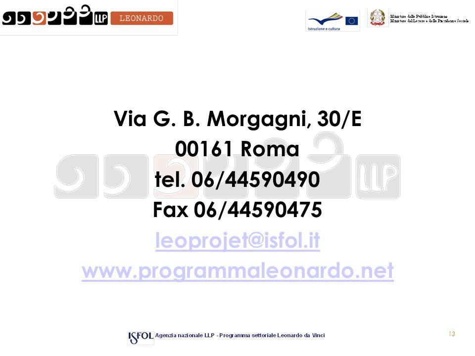 13 Via G. B. Morgagni, 30/E 00161 Roma tel.