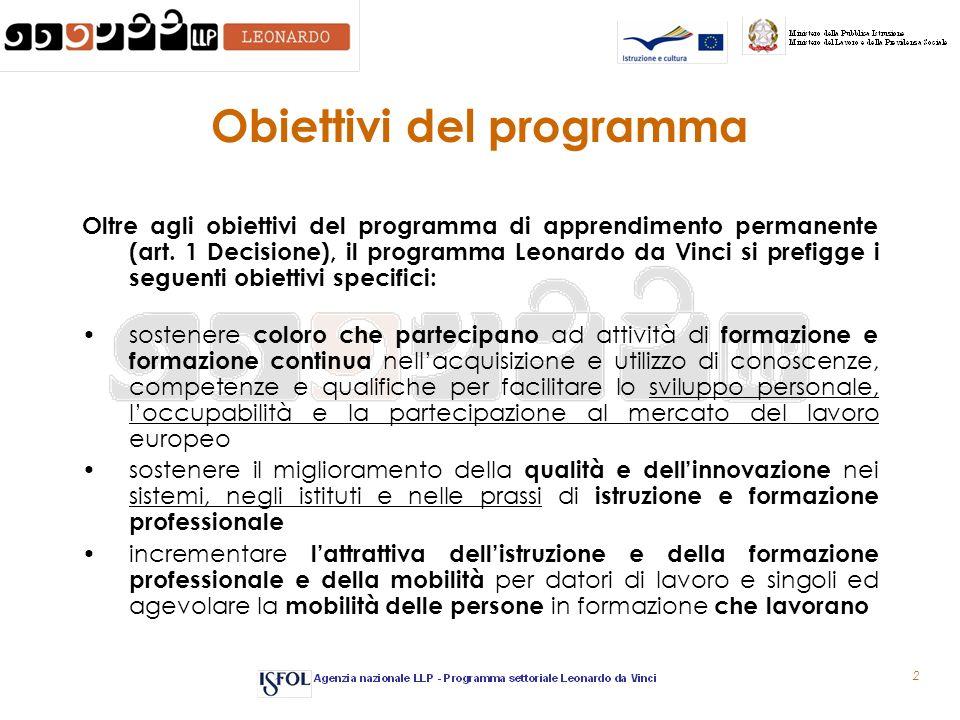 2 Obiettivi del programma Oltre agli obiettivi del programma di apprendimento permanente (art.