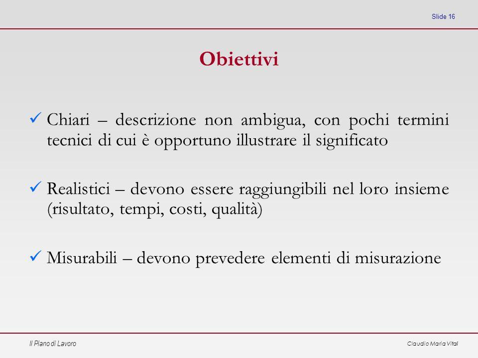 Il Piano di Lavoro Claudio Maria Vitali Slide 16 Obiettivi Chiari – descrizione non ambigua, con pochi termini tecnici di cui è opportuno illustrare i