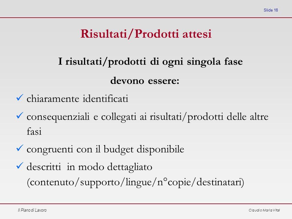 Il Piano di Lavoro Claudio Maria Vitali Slide 18 Risultati/Prodotti attesi I risultati/prodotti di ogni singola fase devono essere: chiaramente identi