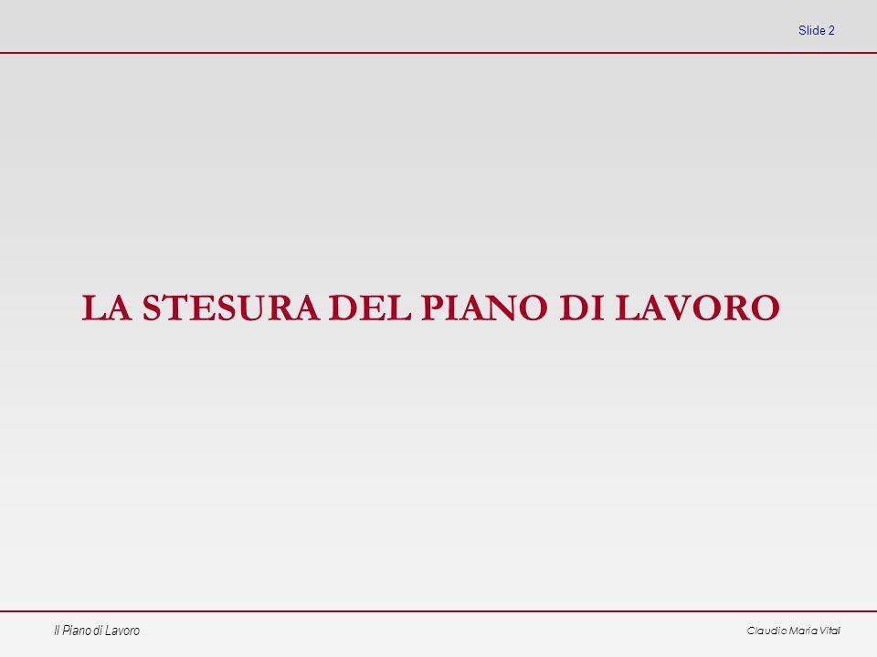 Il Piano di Lavoro Claudio Maria Vitali Slide 23 Ruoli di processo Contraente – è lorganismo responsabile del progetto di fronte alla committenza, a lui è affidata la gestione del progetto in tutte le sue parti.