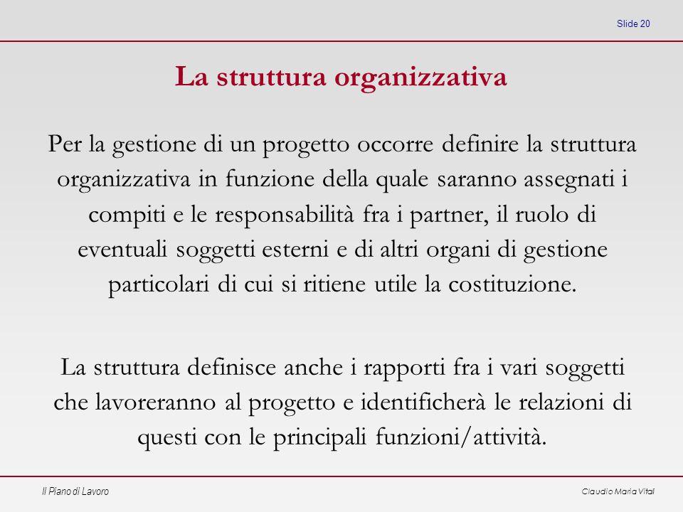 Il Piano di Lavoro Claudio Maria Vitali Slide 20 La struttura organizzativa Per la gestione di un progetto occorre definire la struttura organizzativa