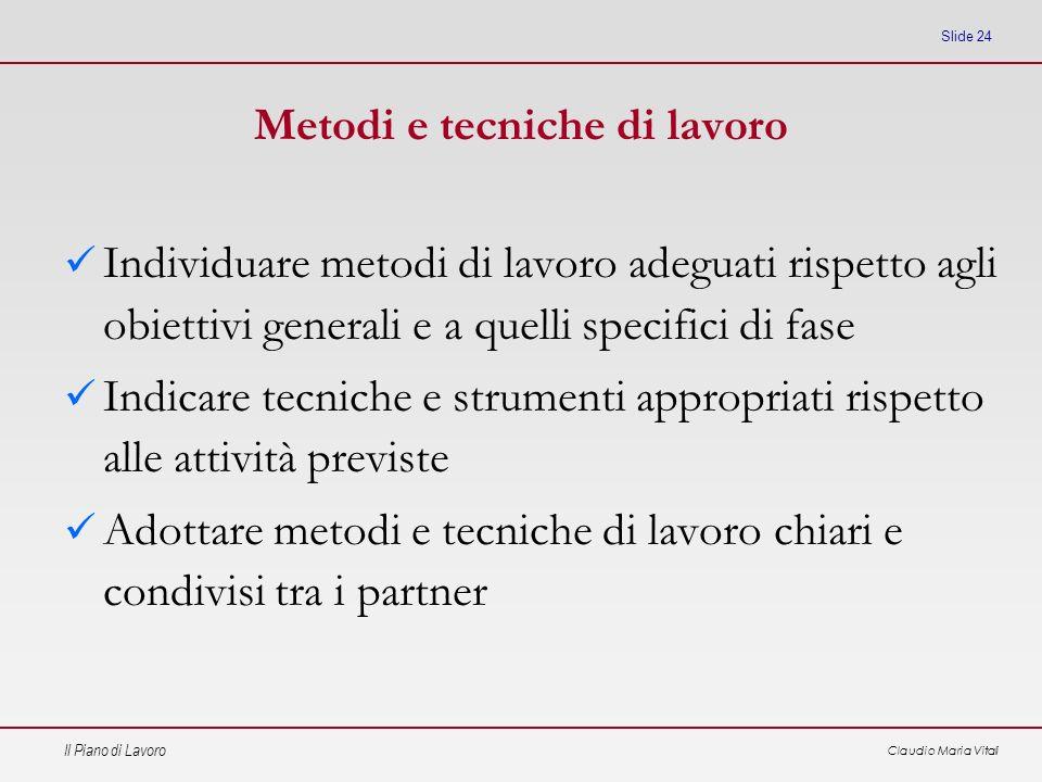Il Piano di Lavoro Claudio Maria Vitali Slide 24 Metodi e tecniche di lavoro Individuare metodi di lavoro adeguati rispetto agli obiettivi generali e