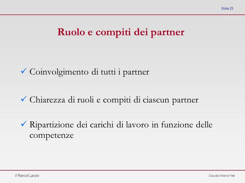 Il Piano di Lavoro Claudio Maria Vitali Slide 25 Ruolo e compiti dei partner Coinvolgimento di tutti i partner Chiarezza di ruoli e compiti di ciascun