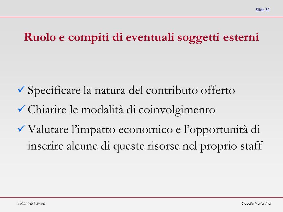 Il Piano di Lavoro Claudio Maria Vitali Slide 32 Ruolo e compiti di eventuali soggetti esterni Specificare la natura del contributo offerto Chiarire l