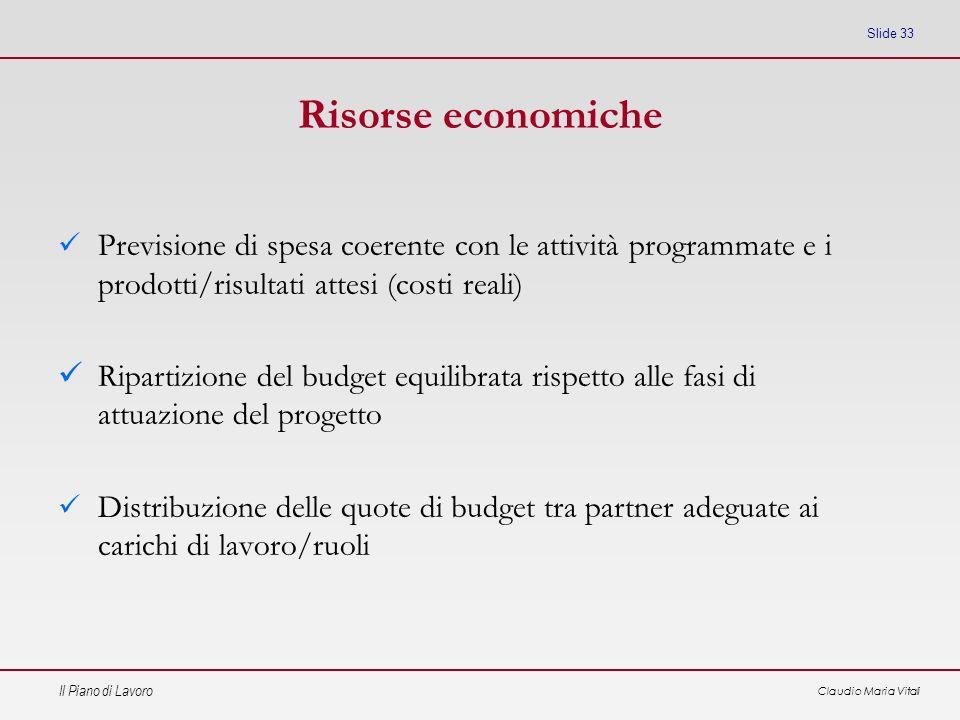 Il Piano di Lavoro Claudio Maria Vitali Slide 33 Risorse economiche Previsione di spesa coerente con le attività programmate e i prodotti/risultati at